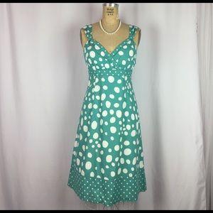 Boden Dresses & Skirts - BODEN Teal Polka Dot Empire Waist A-line Dress. 6