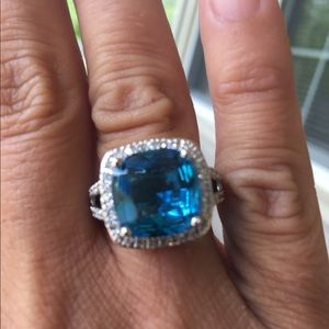 Jewelry - Sterling silver blue topaz and white sapphire ring
