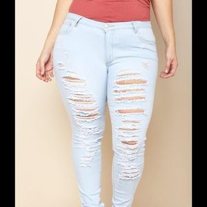 gstageloves Pants - Plus size distressed front skinny jeans