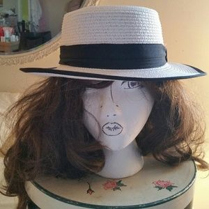 Accessories - Wide brim, white straw boater hat with black trim!