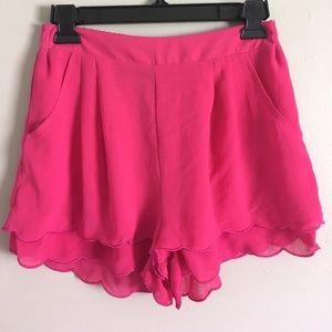 AKIRA Pants - Pink Scalloped Chiffon Shorts