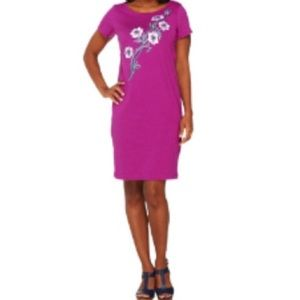 Bob Mackie SS T-Shirt Dress With Floral Embroidery