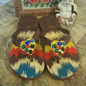 Miss Trish of Capri  Shoes - Miss Trish of Capri Brown Ikat Heart