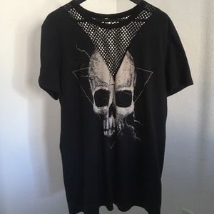 Mesh Graphic Skull T Shirt