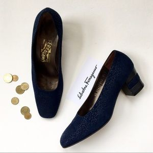 Salvatore Ferragamo Shoes - Salvatore Ferragamo Scribble Print Suede Pump❤️
