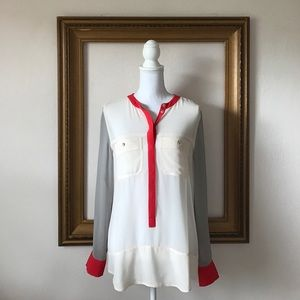 Sanctuary sheer lightweight color block blouse, M