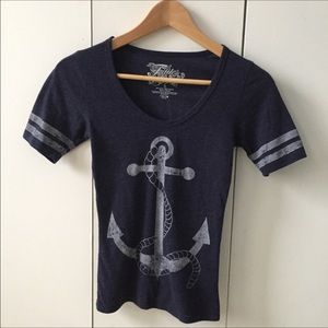 Fifth Sun Tops - Navy Blue Nautical Stripes Anchor Short Sleeve Tee