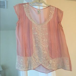 Odille Tops - Odille silk and lace shell pink blouse, size 6