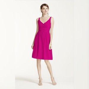 David's Bridal Dresses & Skirts - Short Chiffon V-Neck Dress with Ruching
