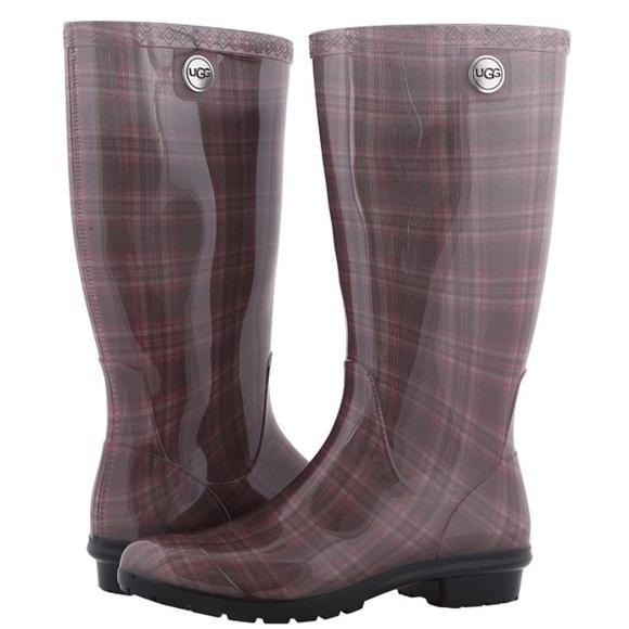f0bdf380278 UGG Authentic Shaye PLAID Diva Pink 💁 Rain Boot 7 NWT