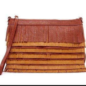 Pink Haley Handbags - New Fringe clutch Crossbody in brown