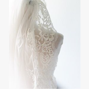 Ivory Scalloped Lace Fingertip Veil