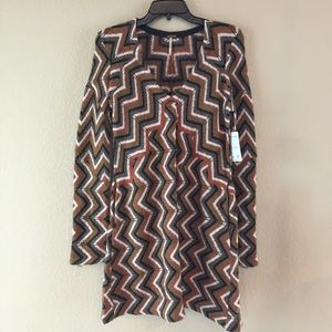 Free People Chevron VNeck Wool Blend Sweater Dress