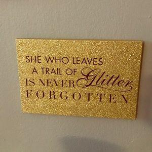 Gold glitter wall art