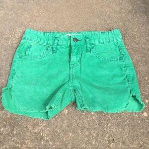 Free People Green Corduroy Shorts
