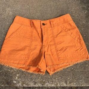 Free People Orange Distressed Shorts