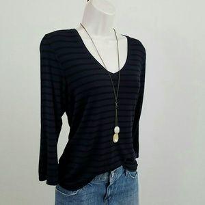 Tahari Tops - Navy & black striped top