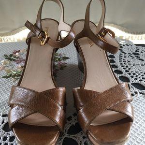Prada leather and cork trim wedge sandal size 37