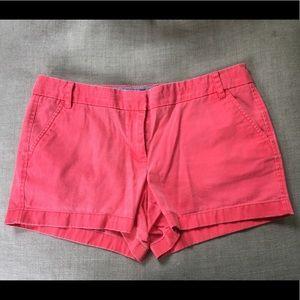 """J Crew 4"""" Inseam 100% Cotton Coral Chino Shorts"""