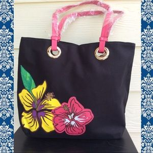 Hibiscus Tropical Appliqué Tote