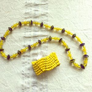Jewelry - Vintage Glass Sun & Sea Necklace & Bracelet Set