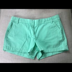 "J Crew 4"" Inseam Mint Green Cotton Chino Shorts"