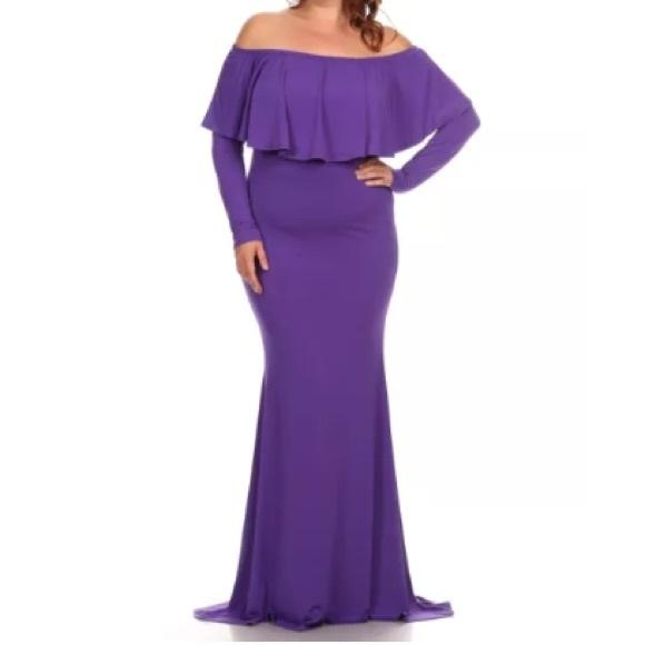 a70c62194869 Plus Purple Off Shoulder Ruffle Mermaid Dress