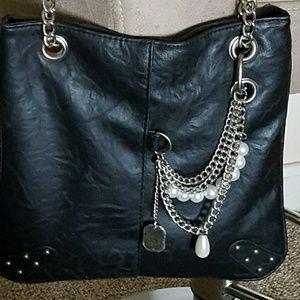 Handbags - Soft vegan black leather shoulder bag