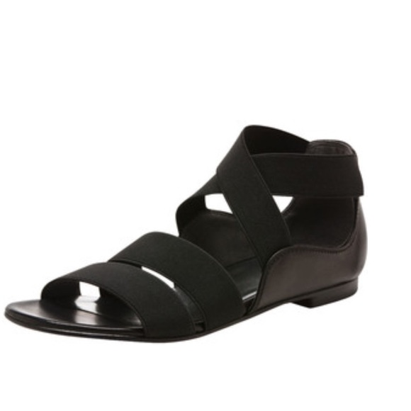 dcaeacb219e3 Stuart Weitzman Strappy Elastic Flat Black Sandals.  M 58fe171499086a9f44007481