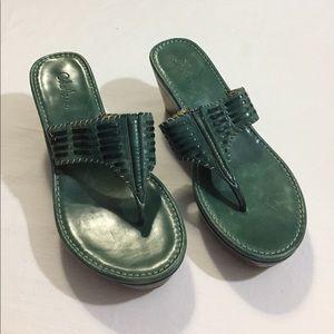 Cole Haan green wedge sandals