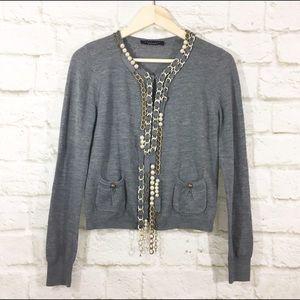 Twin-Set Sweaters - Embellished Italian wool cardigan