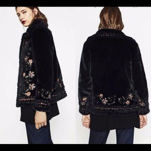 Zara embroidered black faux fur coat XS NWT