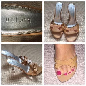Unisa Shoes - Unisa beige patent leather size 8.5 heels