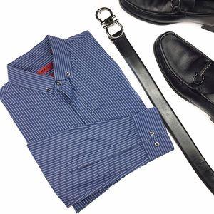 Hugo Boss Other - Hugo Boss Slim Line Blue Striped Button Up Shirt