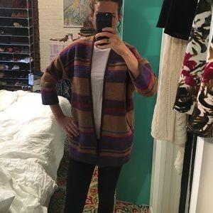 hi-line Jackets & Blazers - Hi-Line wool striped open sweater jacket