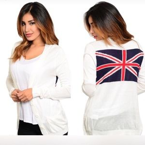 Sweaters - NIP Ivory cardigan with British flag back detail