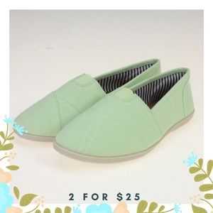 Shoes - Light Green Stitched Style Slip On Shoes