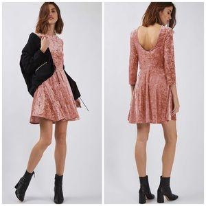 NWT Topshop Pink Crushed Velvet Dress