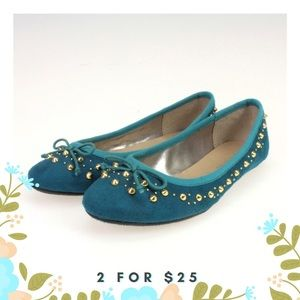 Shoes - Teal Faux Suede Gold Studded Flats