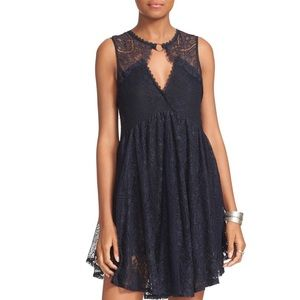 NWT Free People Black Lace Grommet Tunic Dress