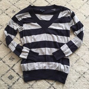 gap rugby stripe navy and grey v neck sweater