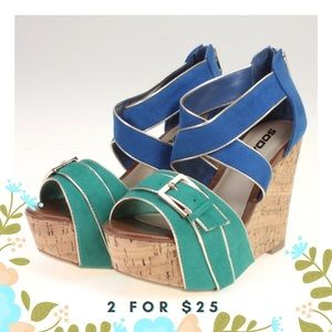 Shoes - Blue & Green Platform Sandal Wedges