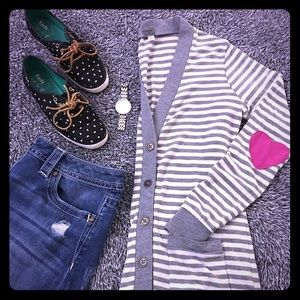 Poof! Sweaters - Gray & cream striped cardigan - ❤️ elbow patches!