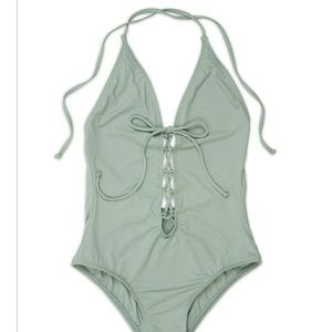 36f2dc8149 Dippin Daisy. Stone/Grey Lace up one piece bathing suit- Medium