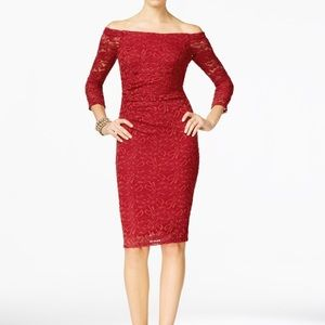 INC off the shoulder red lace sheath dress prom