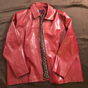 denim & Co Jackets & Blazers - Denim & Co Faux Red Leather Jacket