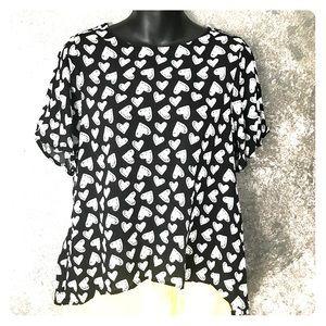 Cotton On Tops - Cotton On Australian line Heart black white blouse