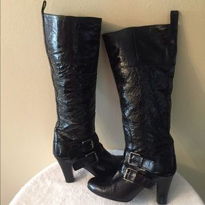 Beautiful Wrinkled Black Leather Tall Boots