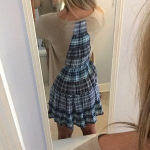 Tan Dress with Blue Plaid Back