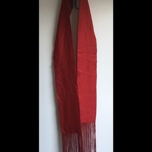 Vintage Red Silky Scarf with Fringe